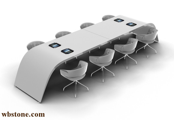 8 People Conference Table Stone Material Custom Design