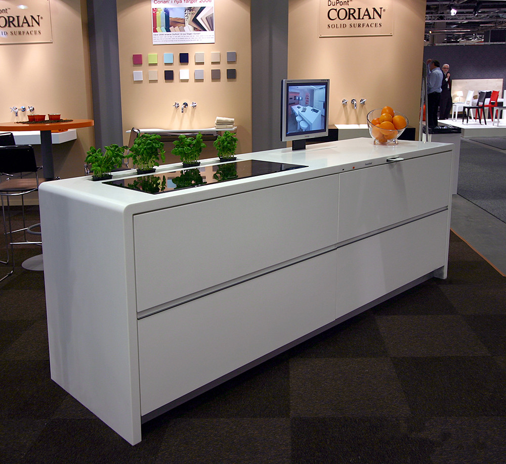New Design Corian Kitchen Counter White Glossy Surface