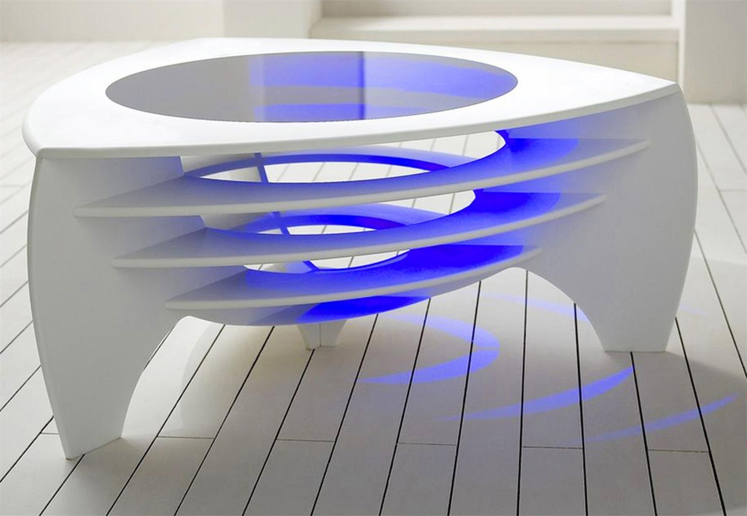 Popular Led Lighting Solid Surface Stone Coffee End Table