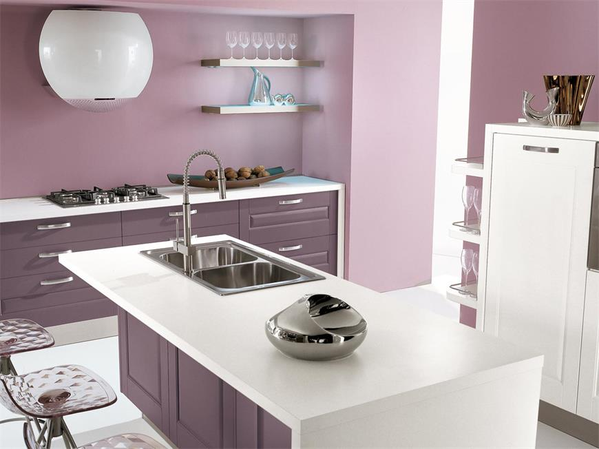 Elegant design light purple kitchen counter with small island new style for sale