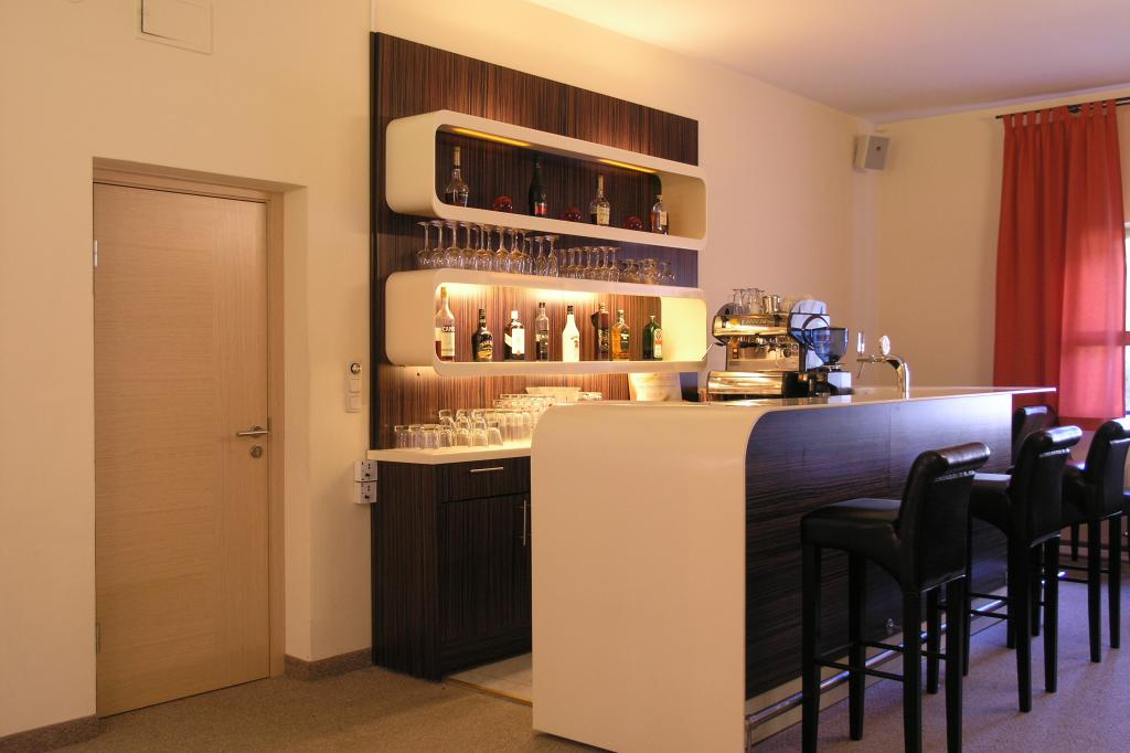 small home bar counter wood cabinet solid surface counter top back wine  wood cabinet and solid surface shelf
