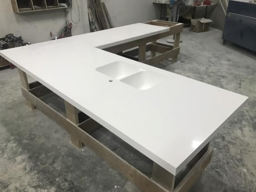 Glacier White Corian countertops solid surface with sink