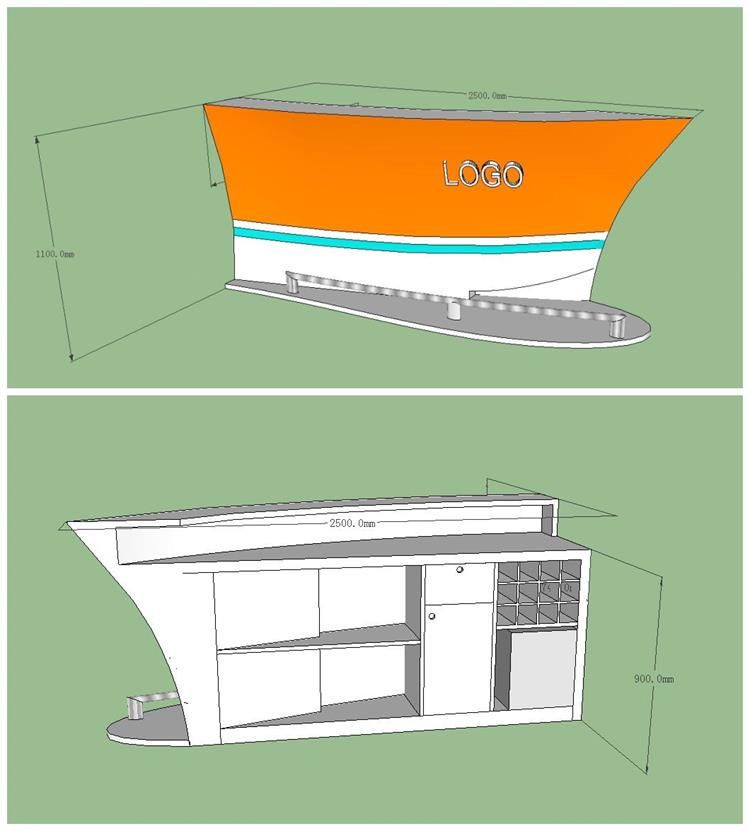 3D drawing of boat shape corian bar counter