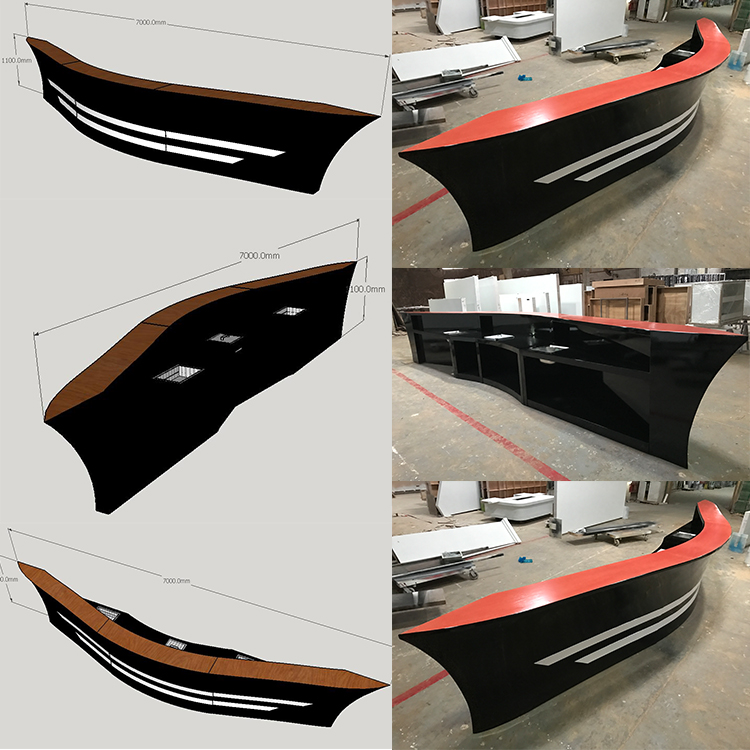 3D Drawing of boat shape bar counter