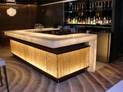 Transparent Stone Flower Pattern Glass Pub Bar Counter