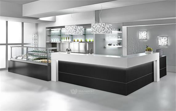 Solid Surface Restaurant Counter With Refrigerator