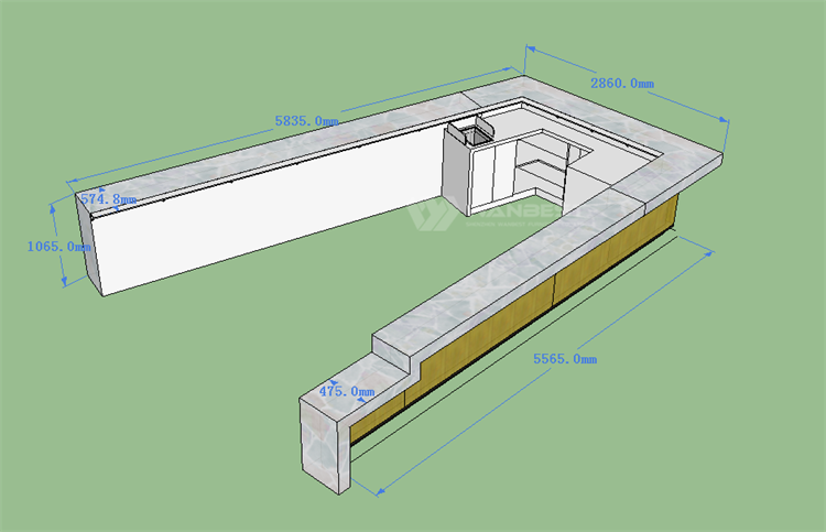 Large bar counter 3D drawing