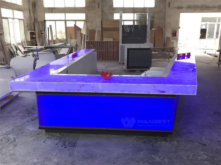 Blue LED lighting artificial stone  bar counter