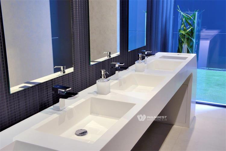 Aritificial Stone White Bathroom Products With 3 Sinks For Sale