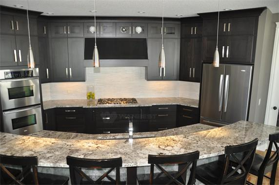 Elegant Solid Surface Kitchen Counter Tops With Two Sinks