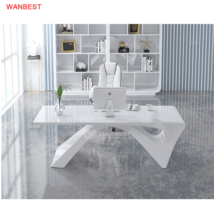 White Health Material Solid Surface Home Modern I Shape Design Office Desk