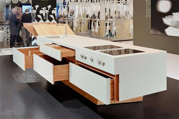 Solid Surface & Solid Wood Fshion Design Unique USA Cilent Customized Kitchen Counter
