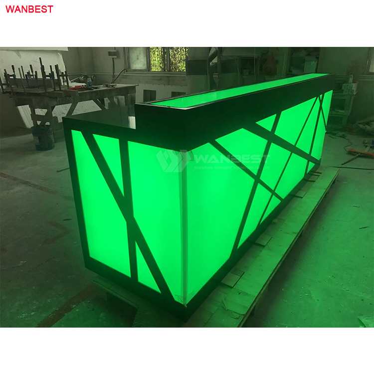 Green color high gloss reception desk furniture