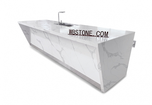 fish belly White marble kitchen island custom counter